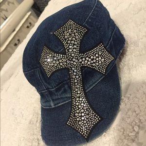 Accessories - Denim cap cross bling hat adjustable